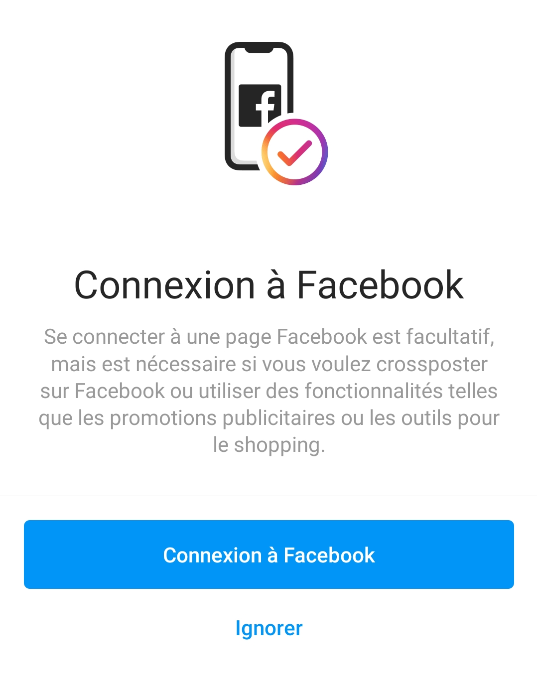 Connexion avec la page Facebook
