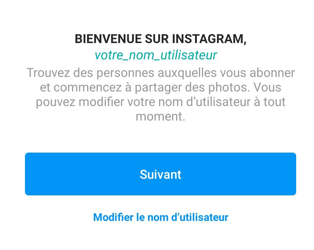 Choix du pseudo Instagram