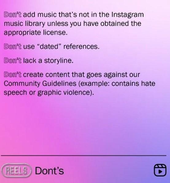 La liste des choses à ne pas faire avec les Reels Instagram