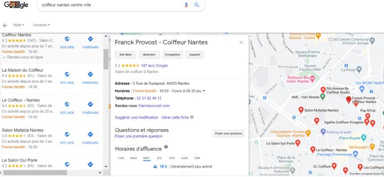 Coiffeur sur Google My Business à Nantes