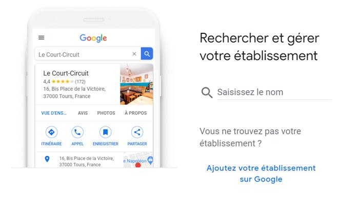Recherche de son établissement sur Google My Business