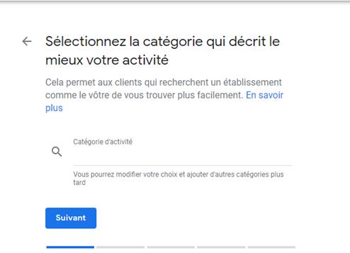 Catégorie à choisir sur Google My Business