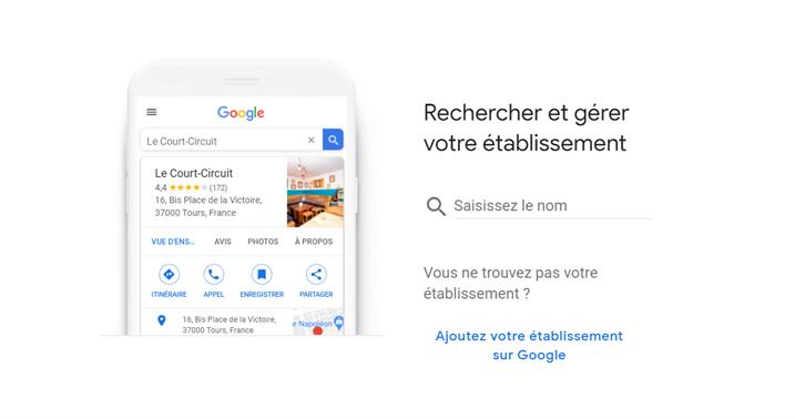 Recherche d'établissement Google My Business