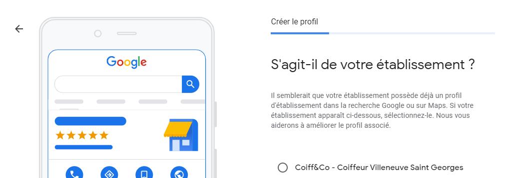 Etablissement similaire sur Google My Business