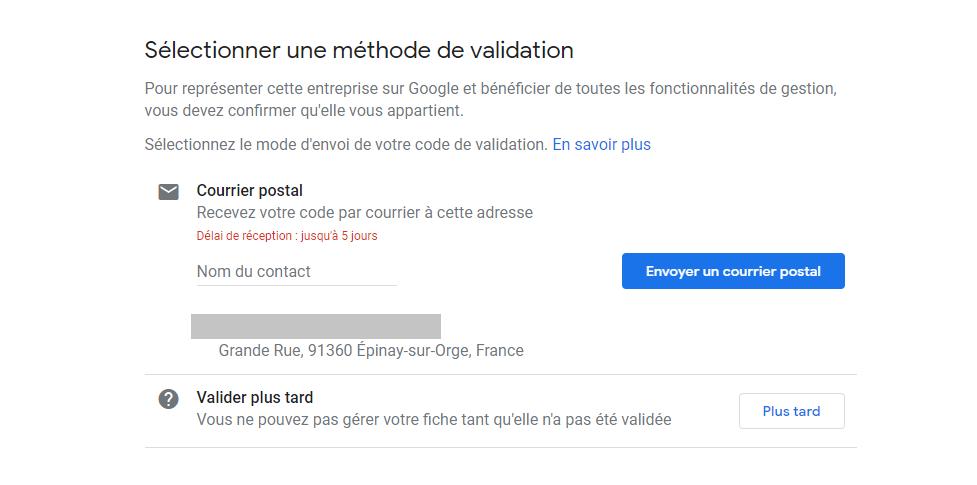 Validation de sa fiche Google My Business